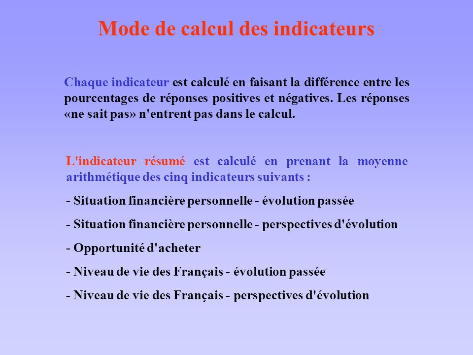 Mode de calcul des indicateurs