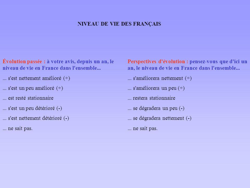 NIVEAU DE VIE DES FRANÇAIS