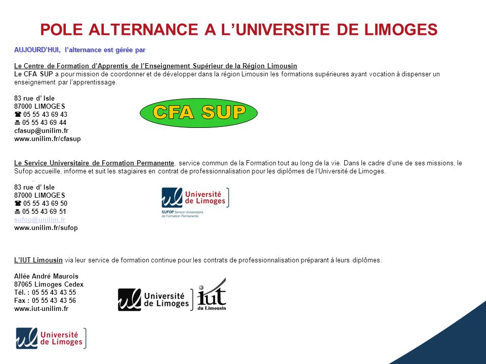 POLE ALTERNANCE A L'UNIVERSITE DE LIMOGES