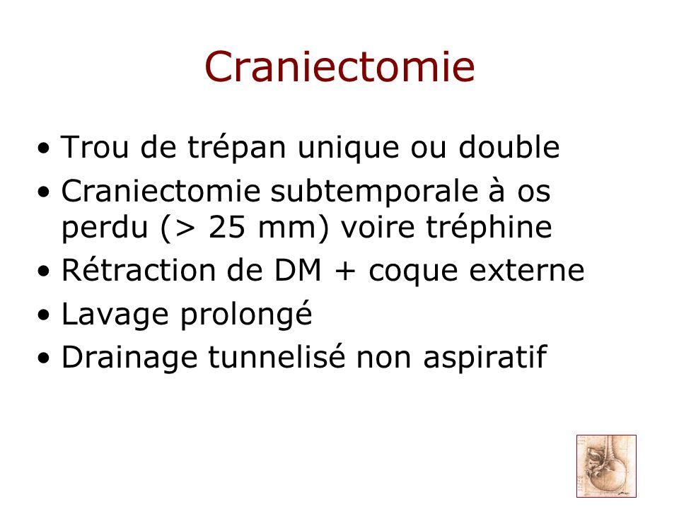 Craniectomie Trou de trépan unique ou double