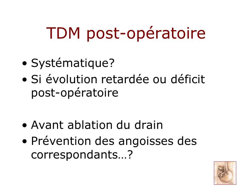 TDM post-opératoire Systématique