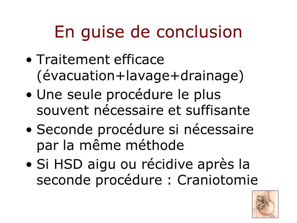 En guise de conclusion Traitement efficace (évacuation+lavage+drainage) Une seule procédure le plus souvent nécessaire et suffisante.