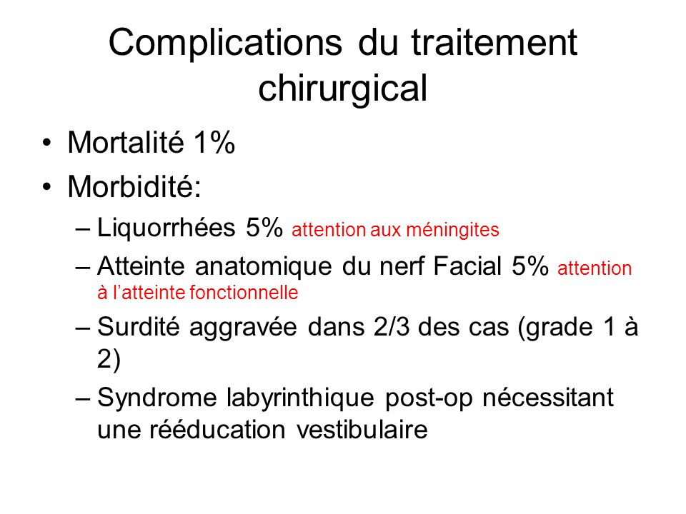 Complications du traitement chirurgical