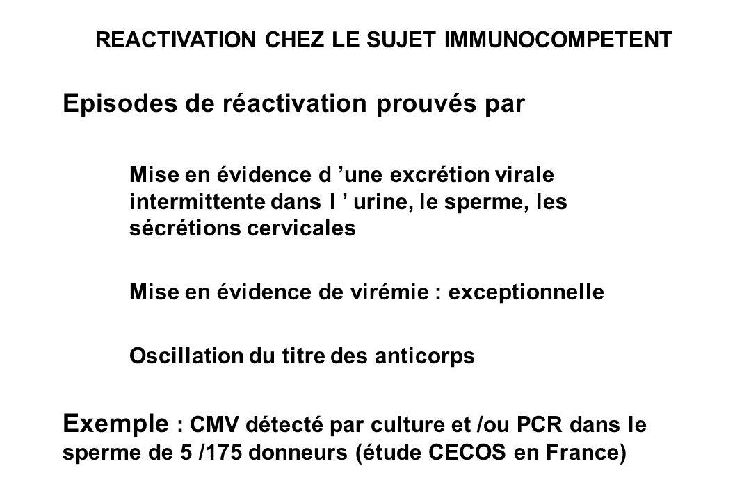 REACTIVATION CHEZ LE SUJET IMMUNOCOMPETENT