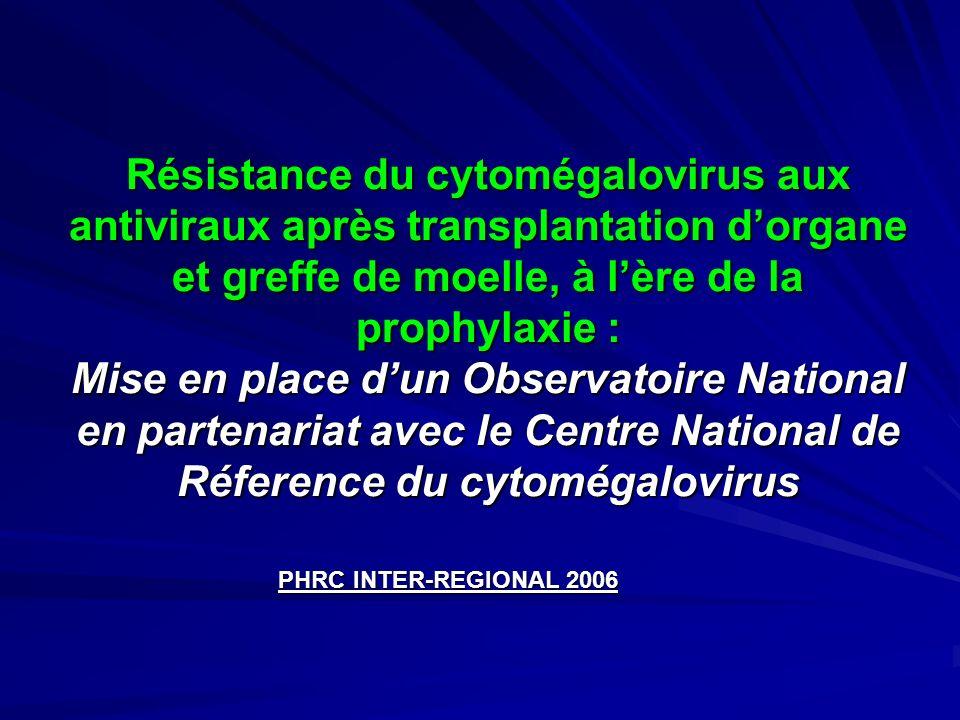 Résistance du cytomégalovirus aux antiviraux après transplantation d'organe et greffe de moelle, à l'ère de la prophylaxie : Mise en place d'un Observatoire National en partenariat avec le Centre National de Réference du cytomégalovirus
