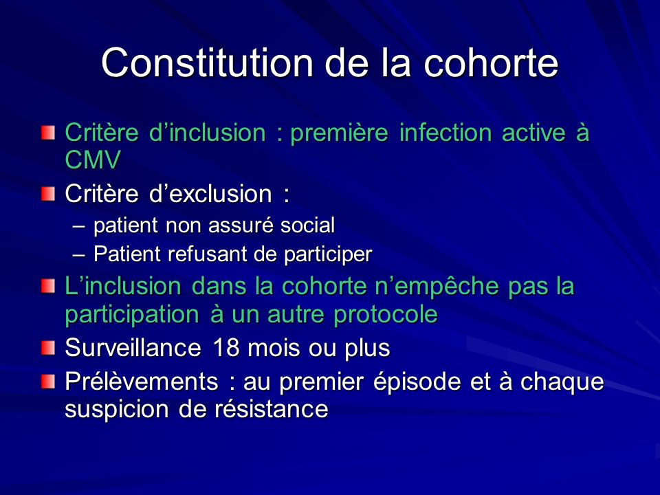 Constitution de la cohorte