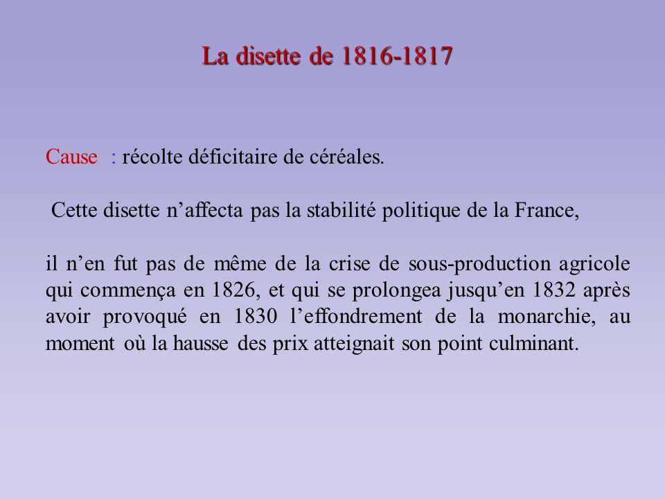 La disette de 1816-1817 Cause : récolte déficitaire de céréales.