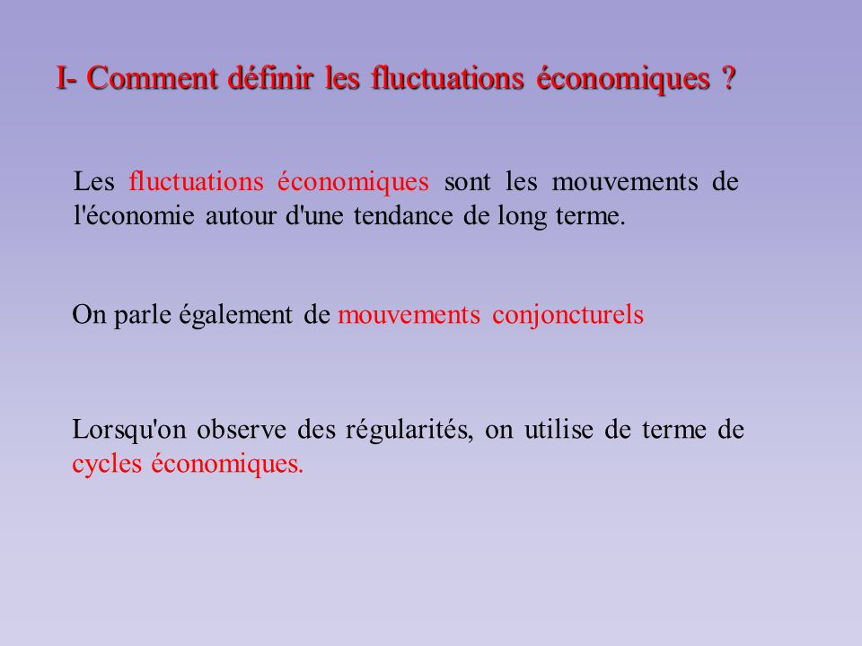 I- Comment définir les fluctuations économiques