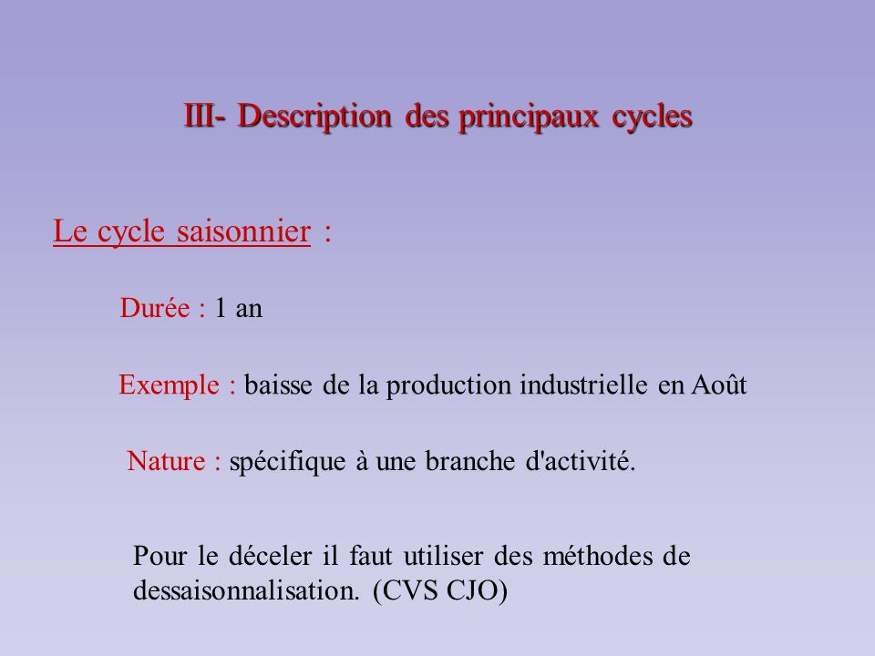 III- Description des principaux cycles