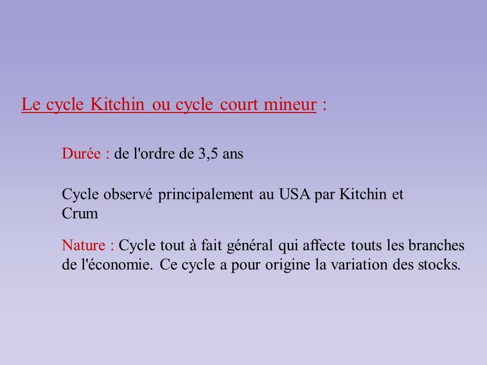 Le cycle Kitchin ou cycle court mineur :