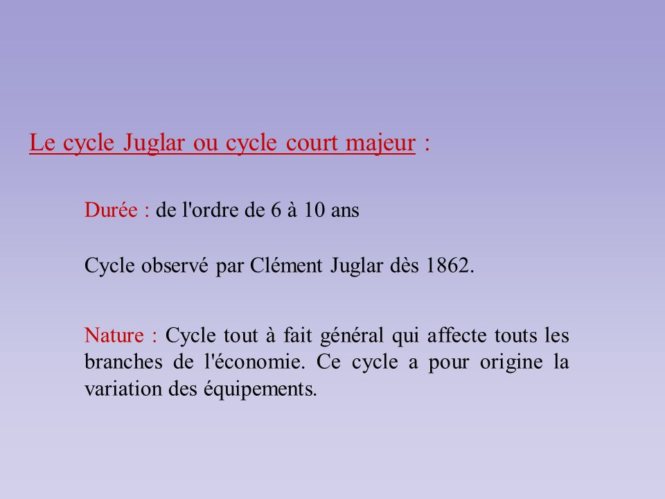 Le cycle Juglar ou cycle court majeur :