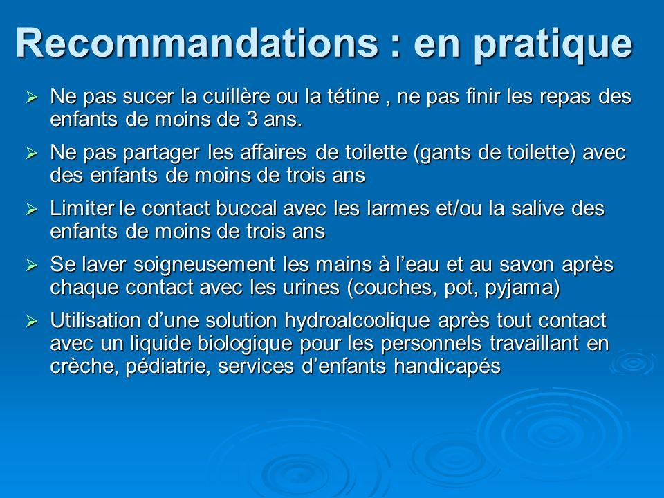 Recommandations : en pratique