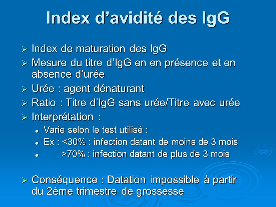Index d'avidité des IgG