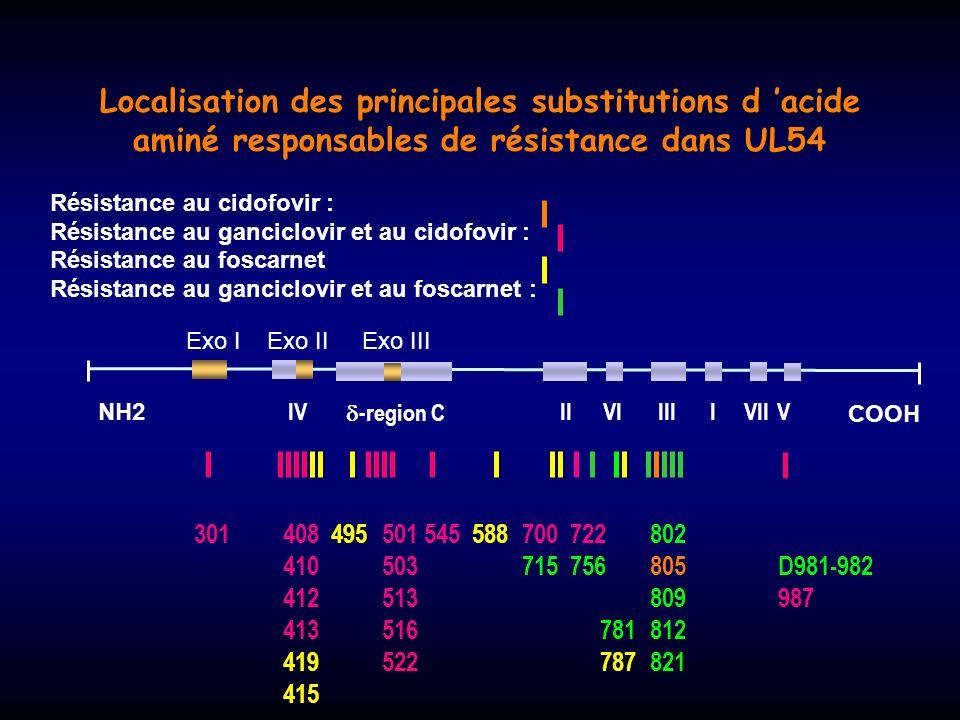 Localisation des principales substitutions d 'acide aminé responsables de résistance dans UL54
