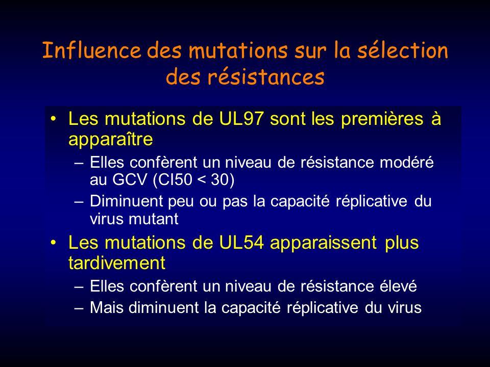 Influence des mutations sur la sélection des résistances