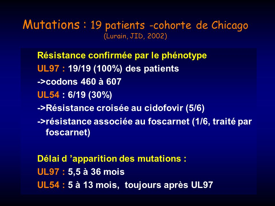 Mutations : 19 patients -cohorte de Chicago (Lurain, JID, 2002)