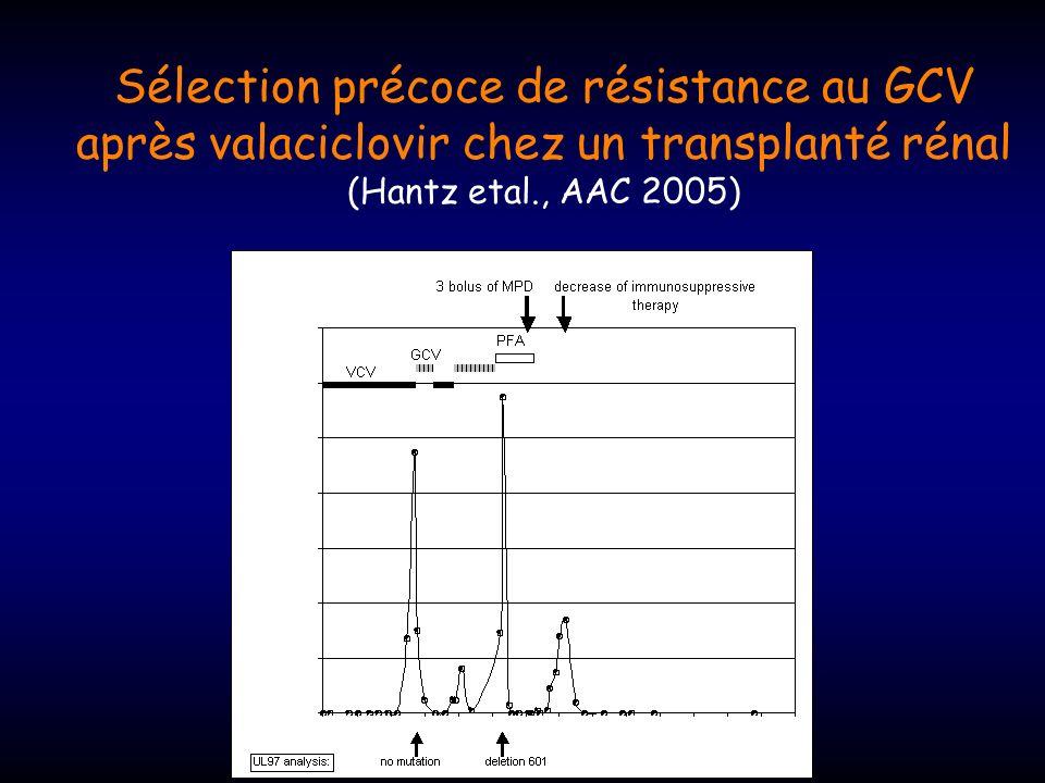 Sélection précoce de résistance au GCV après valaciclovir chez un transplanté rénal (Hantz etal., AAC 2005)