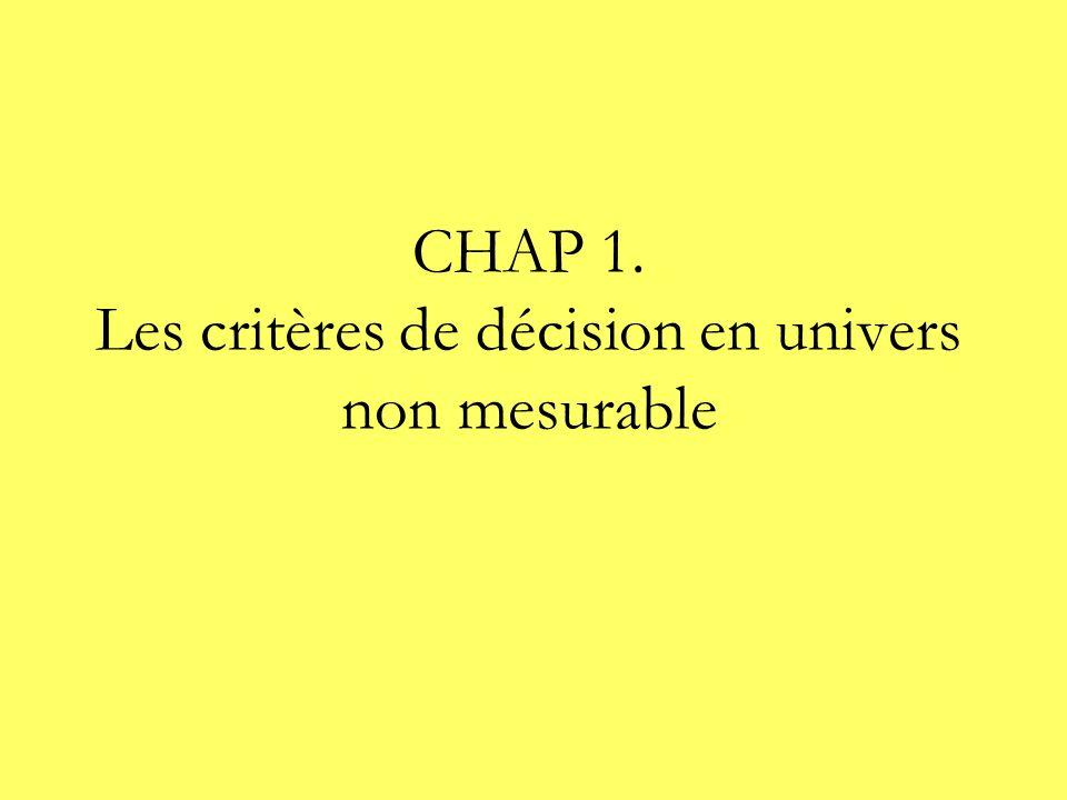 CHAP 1. Les critères de décision en univers non mesurable