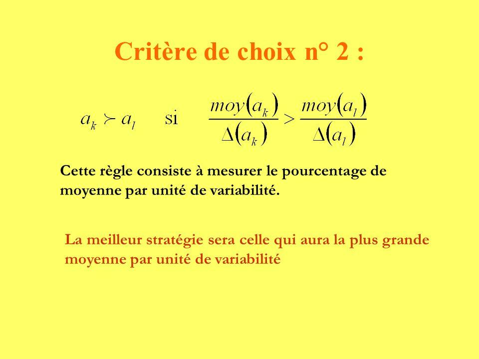 Critère de choix n° 2 : Cette règle consiste à mesurer le pourcentage de moyenne par unité de variabilité.