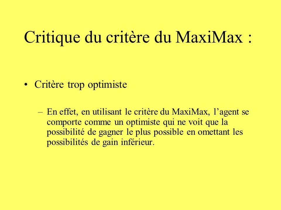 Critique du critère du MaxiMax :