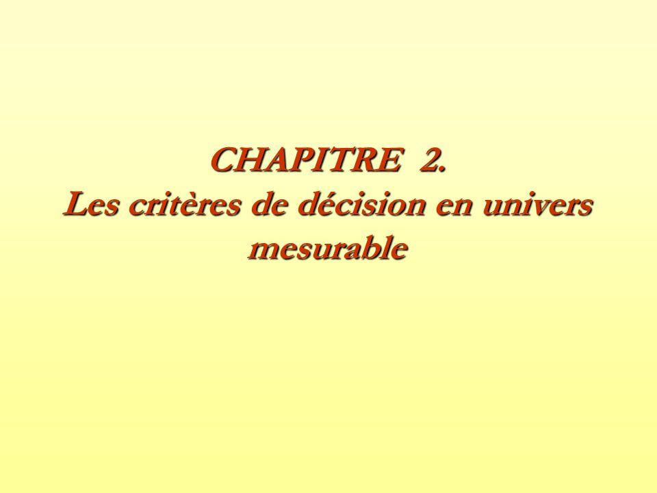 CHAPITRE 2. Les critères de décision en univers mesurable