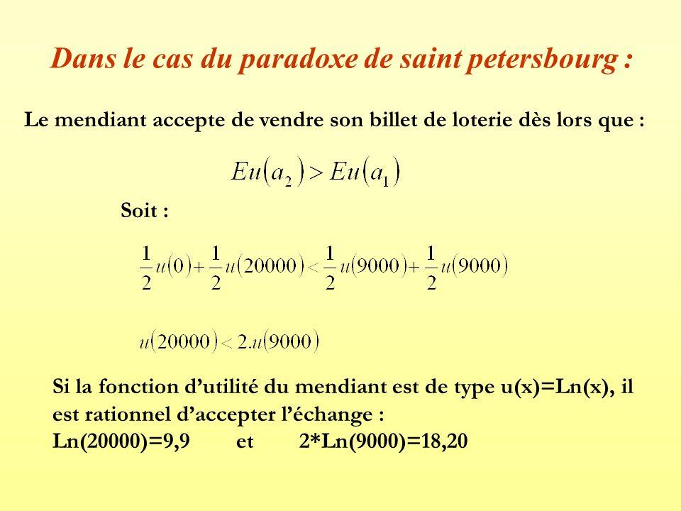Dans le cas du paradoxe de saint petersbourg :
