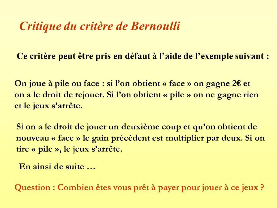 Critique du critère de Bernoulli