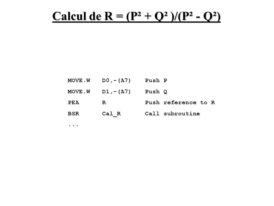 Calcul de R = (P² + Q² )/(P² - Q²)