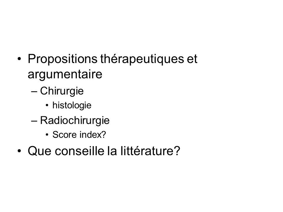 Propositions thérapeutiques et argumentaire