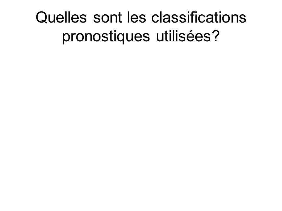 Quelles sont les classifications pronostiques utilisées
