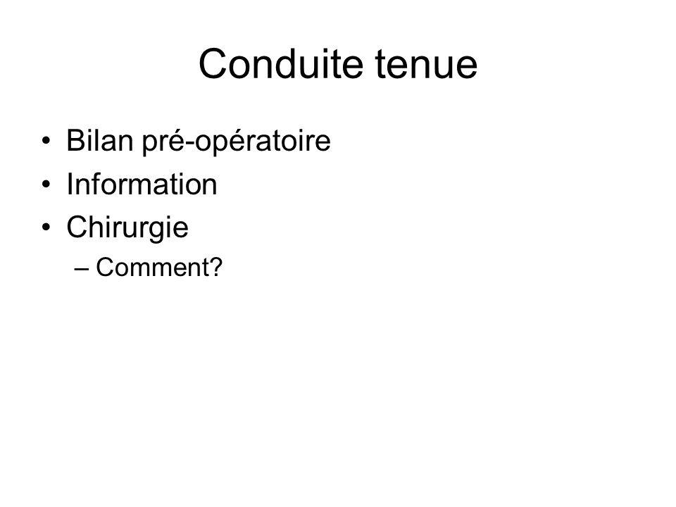 Conduite tenue Bilan pré-opératoire Information Chirurgie Comment