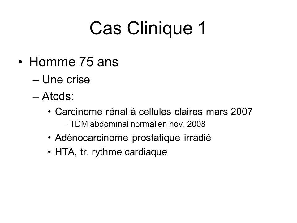 Cas Clinique 1 Homme 75 ans Une crise Atcds: