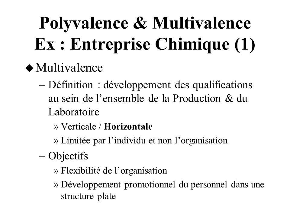 Polyvalence & Multivalence Ex : Entreprise Chimique (1)