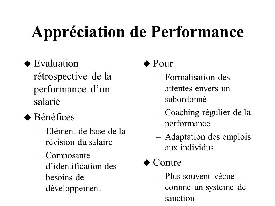 Appréciation de Performance