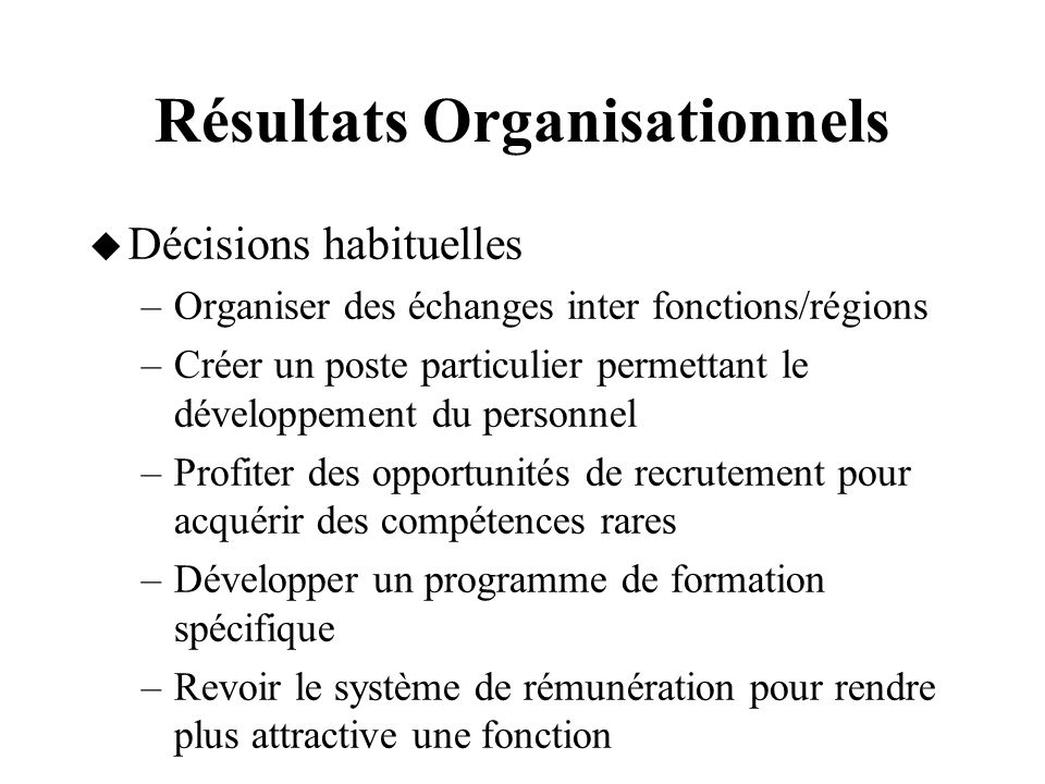 Résultats Organisationnels