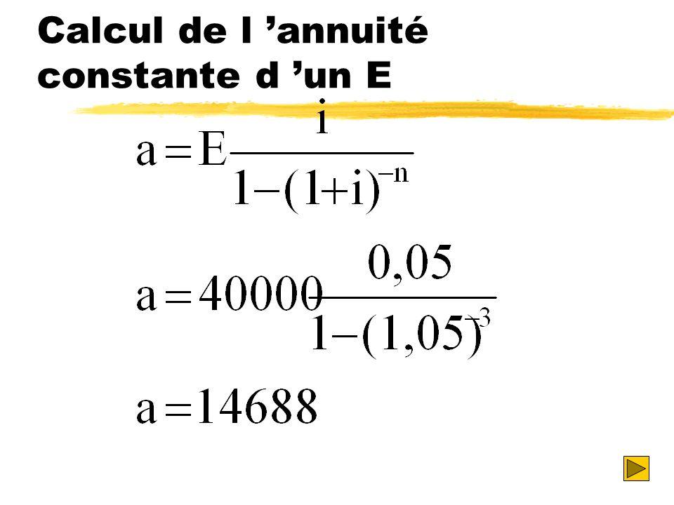 Calcul de l 'annuité constante d 'un E