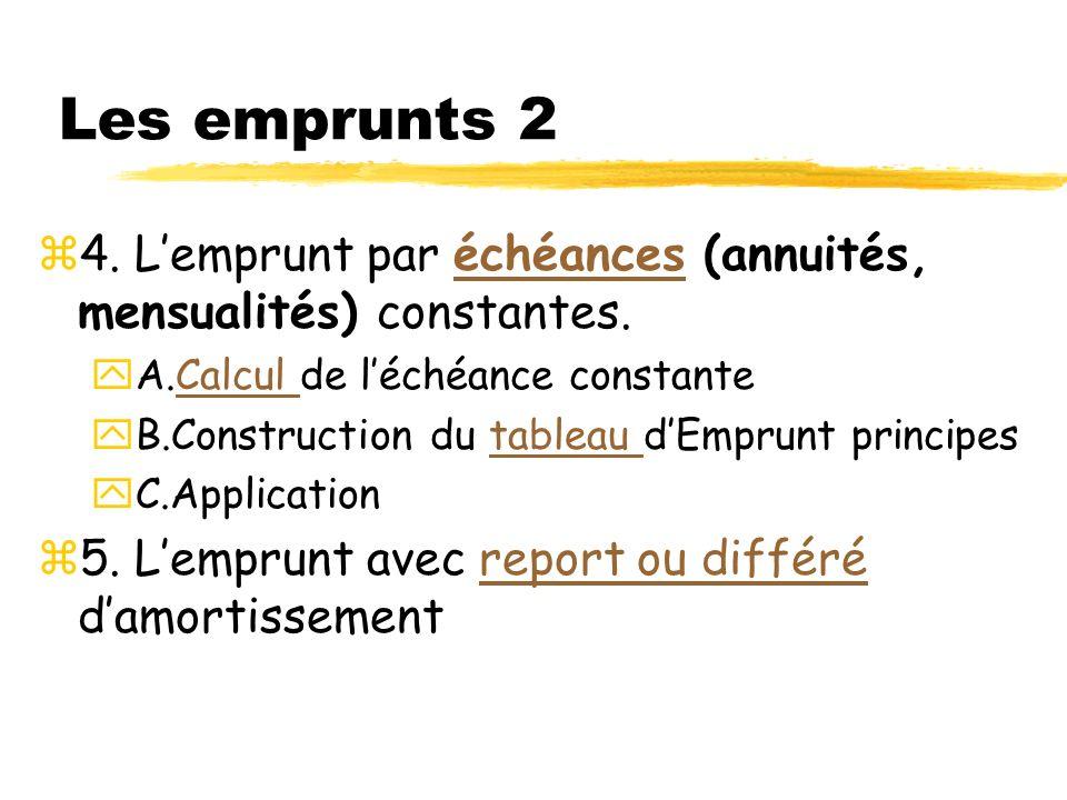 Les emprunts 2 4. L'emprunt par échéances (annuités, mensualités) constantes. A.Calcul de l'échéance constante.