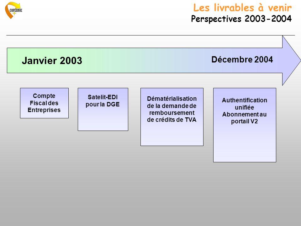 Les livrables à venir Perspectives 2003-2004
