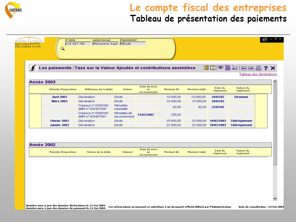 Le compte fiscal des entreprises Tableau de présentation des paiements