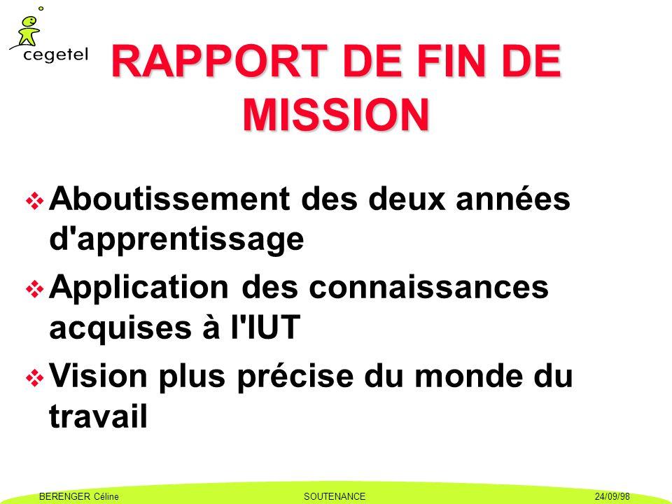 RAPPORT DE FIN DE MISSION