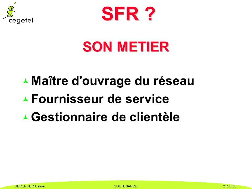SFR SON METIER Maître d ouvrage du réseau Fournisseur de service