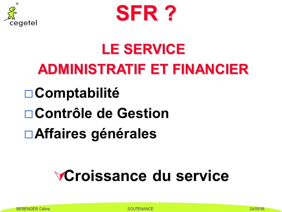 SFR LE SERVICE ADMINISTRATIF ET FINANCIER