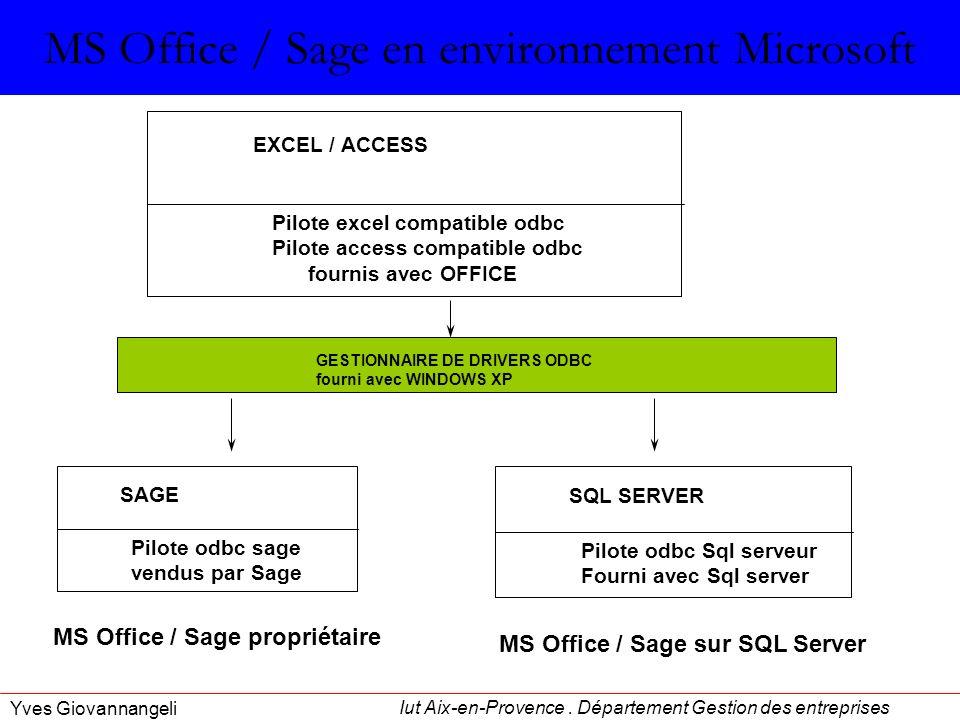 MS Office / Sage en environnement Microsoft