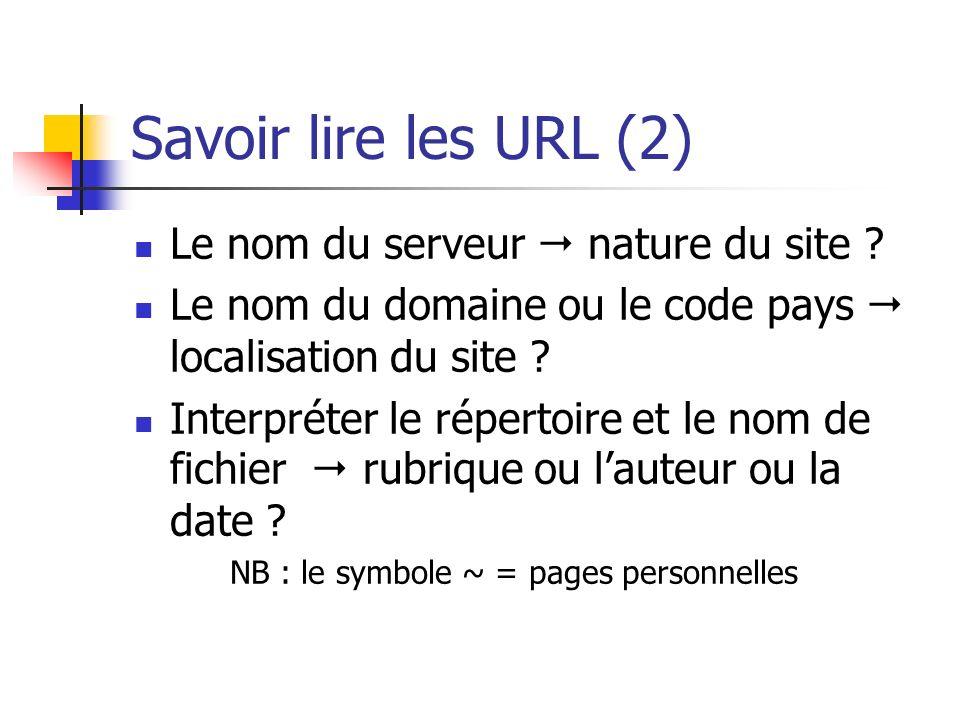 Savoir lire les URL (2) Le nom du serveur  nature du site