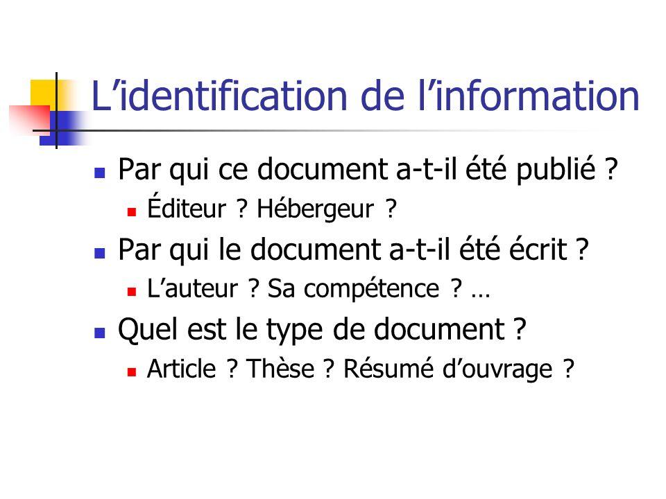 L'identification de l'information