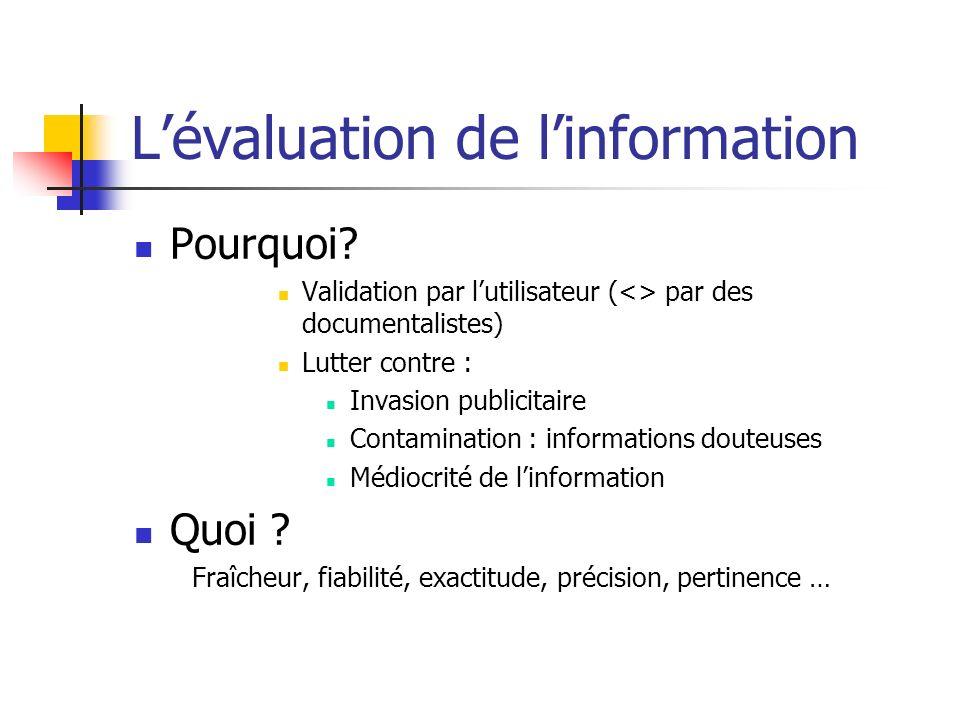 L'évaluation de l'information