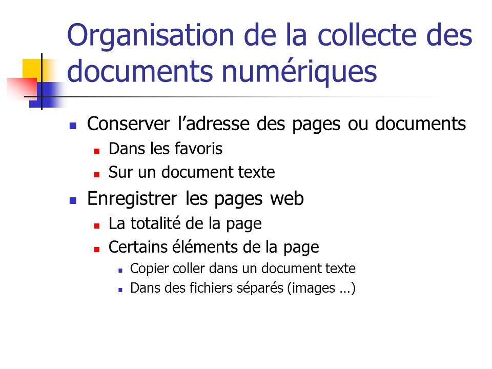 Organisation de la collecte des documents numériques