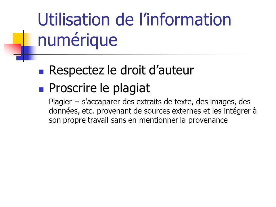 Utilisation de l'information numérique