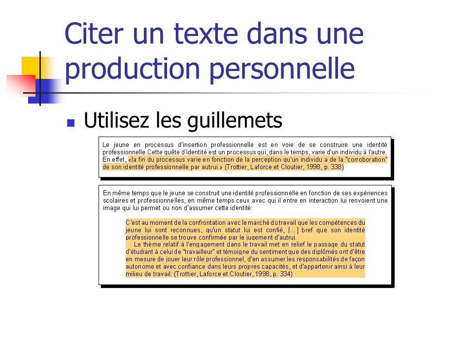 Citer un texte dans une production personnelle