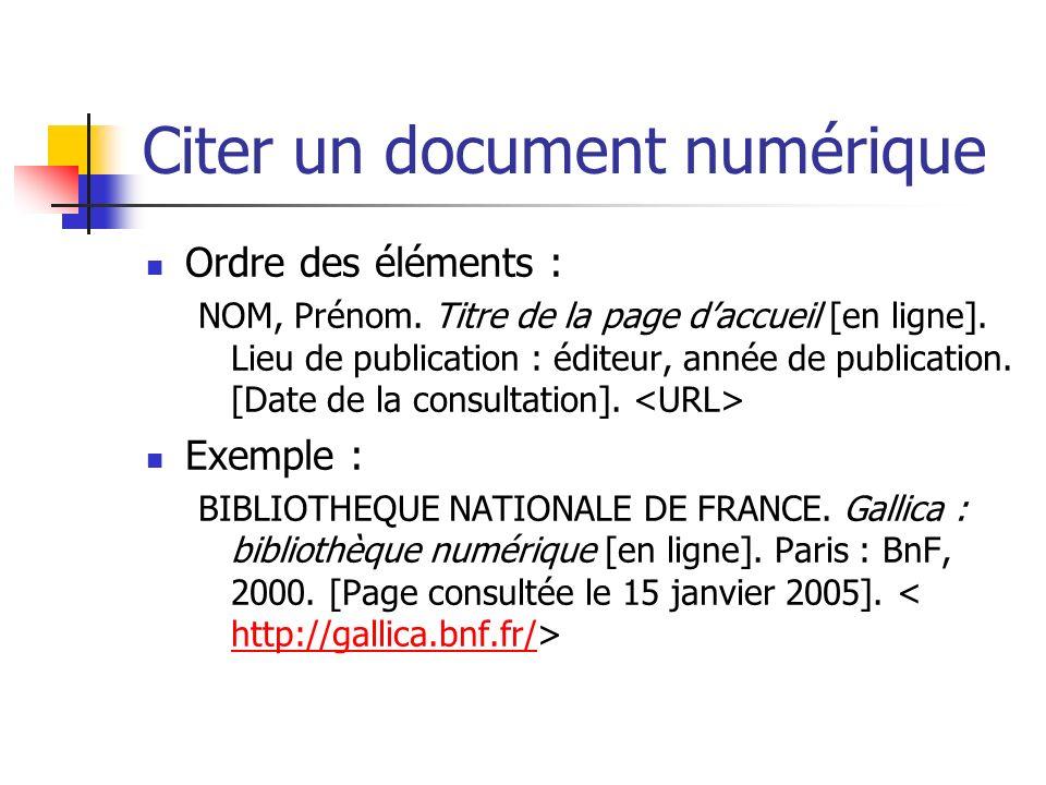 Citer un document numérique